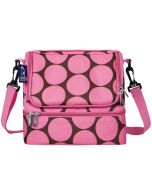 Dual Compartment Lunch Bags- pink dots