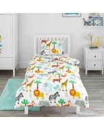 Children's White Safari Duvet Cover Set