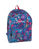Personalised Blue FLowers Backpacks
