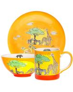 Children's Handpainted Ceramic Dinner Set - Jungle Animals
