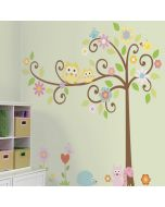Scroll Tree Wall Stickers- roomset
