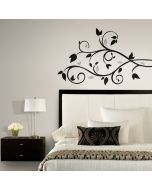 Scroll Branch with Silver Leaves Wall Stickers