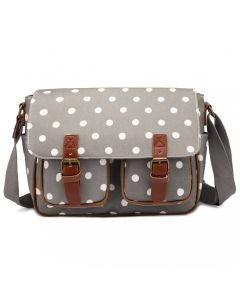 purple satchel with polka dots
