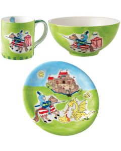 Children's Hand Painted Ceramic Dinner Sets - Knight and Dragon