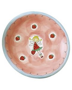 Children's Handpainted Ceramic Plate - Strawberry Fairy