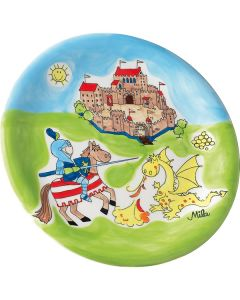 Children's Handpainted Ceramic Plate - Knight and Dragon