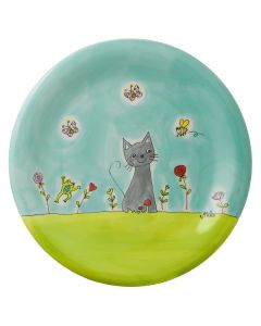 Hand Painted Ceramic Plate - Cat in the Meadow