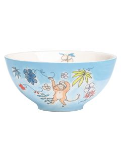 Children's Hand-Painted Ceramic Bowl - Monkey