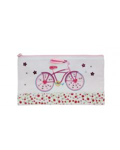 Pink Floral Bicycle Pencil Case