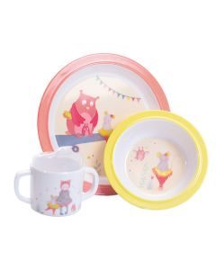 Moulin Roty Baby Melamine Dinner Set - Pink Owl & Mouse