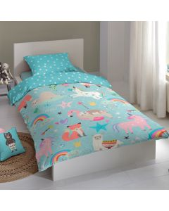 Children's 100% Cotton Duvet Cover - Blue Unicorns