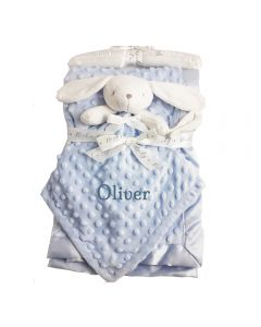 Blue Baby Blanket with comforter personalised