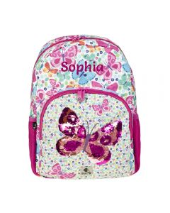 personalised backpack butterfly sequin pattern