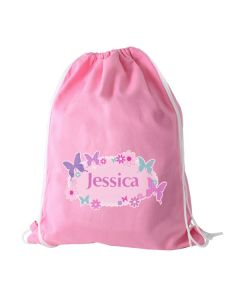 Children's Personalised PE Bag - Pink Butterfly