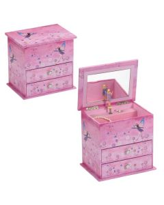 Children's Musical Jewellery Box with Drawers - Purple Flower Fairy