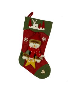 Christmas Stocking - Red & Green Snowman