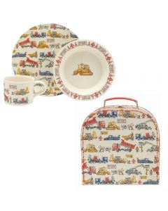 Personalisable Children's 3 Piece Melamine Dinner Set - Construction