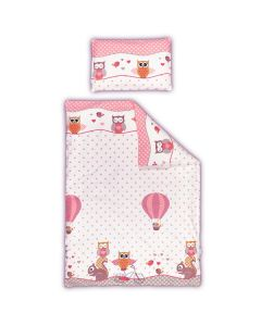cot 100% cotton duvet cover set - owl and squirrel