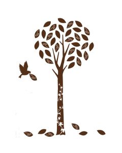 Velvet Tree Wall Stickers - Dark Brown