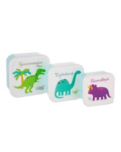 colourful dinosaur snack boxes