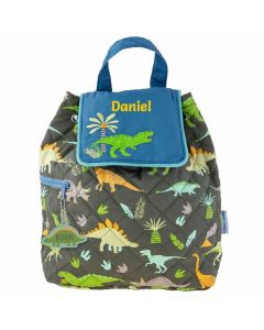 personalised boy dinosaur quilted backpack
