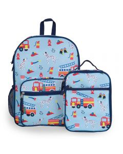 Fire Engine Kids Backpack with Lunch Bag
