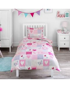 Girl's Patchwork Butterfly Duvet Cover Set