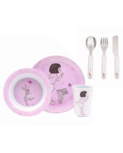 Children's Bunny 6 Piece Melamine Dinner Gift Set