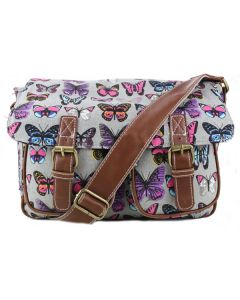 Grey Canvas School Satchel - Butterfly