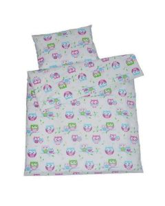 100% cotton kids duvet covers- white owls