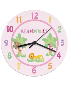Children's Personalised Pink Jungle Wall Clock