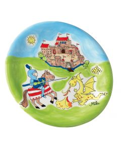 Kids Ceramic Plate - Knight and Dragon