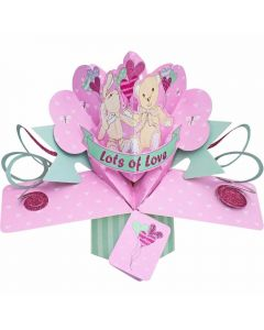 3D Pop Up Greeting Card - Pink with Lots of Love