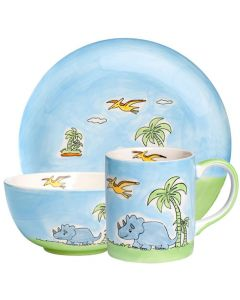 Children's Handpainted Ceramic Dinner Set - Dinosaur