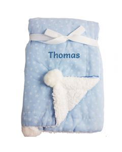 Personalised Baby Boy Blanket - Sherpa and Stars