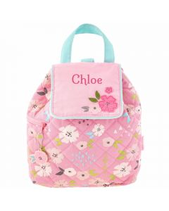 Personalised Pink Flower Quilted Backpack