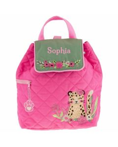 personalised leopard toddler backpack