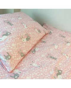 100% Cotton Pink Bunny Cot Duvet Set