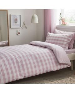 100% Cotton Pink Gingham Duvet Cover Set