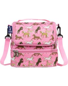 Dual Compartment Lunch Bags - Pink Horses