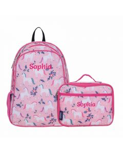 Personalised Pink Unicorn Backpack with matching Lunch Bag