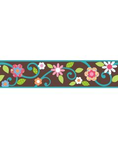 Scroll Tree Wall Border – Brown/Teal by RoomMates