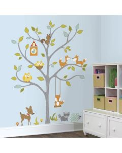 Girl's Woodland Fox & Friends Tree Wall Sticker