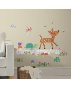 Nursery Wall Stickers- Baby Deer on Log