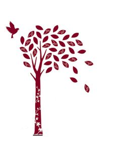 Velvet Tree Wall Stickers - Wine